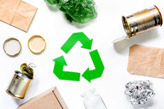Eco concept with recycling symbol on white background top view Stock Images