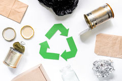 Eco concept with recycling symbol on white background top view Royalty Free Stock Images