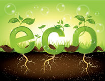Eco concept. Save the nature concept with green leaves royalty free illustration