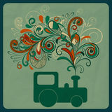 Eco concept with a steam train. Eco concept with asteam train and floral pattern instead of smoke Stock Photo