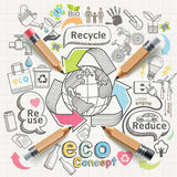 Eco concept thinking doodles icons set. Royalty Free Stock Photography