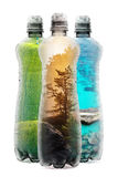 Eco concept with three plastic bottles Stock Photos