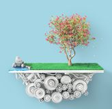 Eco concept. Tree with grass and water on the patch of ground with gears. 3d illustration Royalty Free Stock Photography
