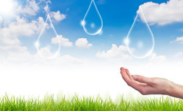Eco concept : Water drop in the sky Stock Photo