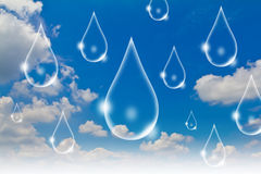 Eco concept : Water drop in the sky Royalty Free Stock Images