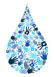 Save water diversity hand shape royalty free illustration