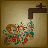 Eco concept with a water tap Royalty Free Stock Image