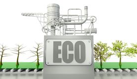 Eco conception with trees and machine Stock Photography