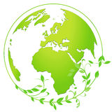 Earth globe icon in green and white Stock Photos
