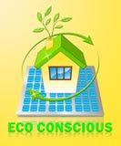 Eco Conscious Displays Environment Aware 3d Illustration. Eco Conscious House Displays Environment Aware 3d Illustration Royalty Free Stock Photos