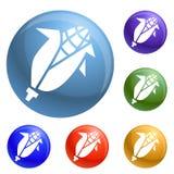 Eco corn icons set vector stock illustration