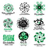 ECO cosmetics logo. Ornament handmade ECO-Logo. Natural cleansers, cosmetics. Natural ECO product. Stock Photography
