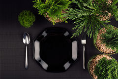 Eco dark modern minimalistic restaurant menu mock up with black glossy plate, spoon, fork, green plants, top view. Eco dark modern minimalistic restaurant menu stock image