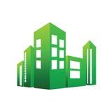 Eco, das grünen Vektor aufbaut stockbild