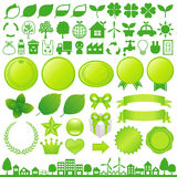 Eco decoration. Set of green ecology decoration Royalty Free Stock Photos