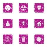 Eco defend icons set, grunge style. Eco defend icons set. Grunge set of 9 eco defend vector icons for web isolated on white background royalty free illustration
