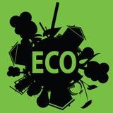 Eco in der schwarzen Illustration Lizenzfreie Stockbilder