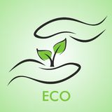 Eco design. Nature in your hands. Vector logo Royalty Free Stock Photos