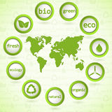 Eco design Elements. Set of 3d ecology buttons with world map. Vector Stock Images