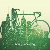 Eco Design. Green eco design concept with cityscape and bicycle - illustration in freely scalable vector format Stock Photo