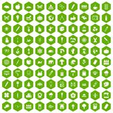 100 eco design icons hexagon green. 100 eco design icons set in green hexagon isolated vector illustration Royalty Free Stock Photos