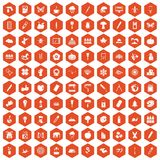 100 eco design icons hexagon orange. 100 eco design icons set in orange hexagon isolated vector illustration Royalty Free Stock Photo