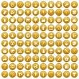 100 eco design icons set gold. 100 eco design icons set in gold circle isolated on white vectr illustration Stock Illustration