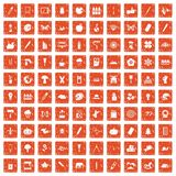 100 eco design icons set grunge orange. 100 eco design icons set in grunge style orange color isolated on white background vector illustration Stock Illustration