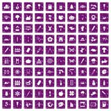100 eco design icons set grunge purple Royalty Free Stock Images