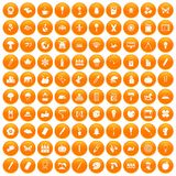 100 eco design icons set orange. 100 eco design icons set in orange circle isolated vector illustration Royalty Free Stock Images