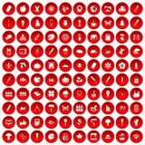 100 eco design icons set red. 100 eco design icons set in red circle isolated on white vectr illustration royalty free illustration