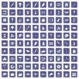100 eco Designikonen stellten Schmutzsaphir ein Lizenzfreies Stockfoto