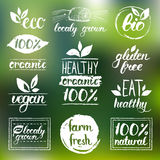 Eco do vetor, logotipos orgânicos, bio Vegetariano, alimento natural e sinais da bebida Mercado da exploração agrícola, coleção d Imagens de Stock Royalty Free