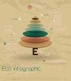 Eco do vintage infographic com abeto. Ilustração do Vetor