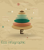 Eco do vintage infographic com abeto. Foto de Stock Royalty Free