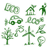 Eco Doodles. Collection of doodles and sketches with ecological topic Stock Image