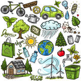 Комплект значка eco Doodles Стоковая Фотография RF