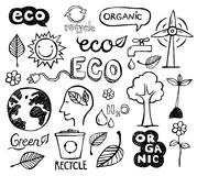 Eco Doodles. Eco and organic doodles - icons. Ecology, sustainable development, nature protection vector illustration