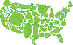 Eco Doodles United States. Environmental Icons in the shape of the United States of America Royalty Free Stock Photography