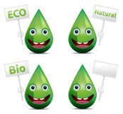 Eco drop. Eco, bio, natural drop smiling face (emoticon) with board banner on white background Stock Photography