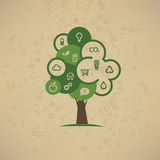 Eco drzewo, ikony ustawiać Zdjęcie Royalty Free