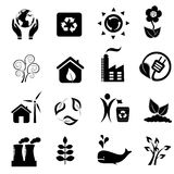 Eco e ícones do ambiente Imagens de Stock Royalty Free