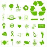 Eco e ícones verdes Imagens de Stock Royalty Free