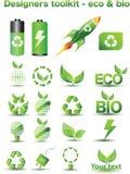 Eco e bio ícones Fotos de Stock Royalty Free