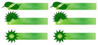 Eco e bio bandeiras Fotos de Stock Royalty Free