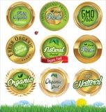 Eco e bio- insieme di etichette Fotografia Stock