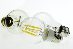 Eco E27 LED bulbs, classic incandescent tungsten and retro ediso Stock Photography