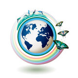 Eco Earth blue. With butterflies on white background stock illustration