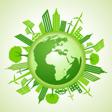 Eco earth concept with green cityscape vector illustration