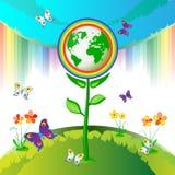 Eco Earth flowers Stock Image